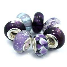 "7 Beads "" Shades of Purple"" murano glass beads fits Pandora Troll Chamilia Carlo Biagi Zable"