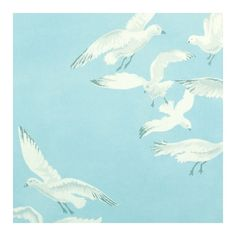 Sanderson Seagulls Wallpaper (4,015 INR) ❤ liked on Polyvore featuring home, home decor, wallpaper, flock wallpaper, sanderson wallpaper, painted wallpaper, blue flock wallpaper and blue sky wallpaper
