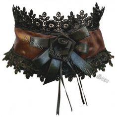 Dark Star Gothic Steampunk Choker with Black Rose & Lace Trim