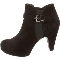 Stuart Weitzman Round-Toe Booties ($125) ❤ liked on Polyvore featuring shoes, boots, ankle booties, black, round toe boots, suede booties, black booties, black round toe boots and rounded toe boots
