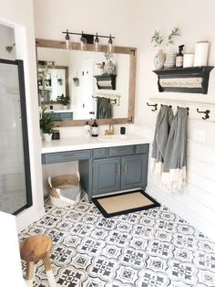 A DIY Bathroom Makeover Floors . - A DIY bathroom makeover floors … – - Bad Inspiration, Bathroom Inspiration, Bathroom Ideas, Bathroom Vanities, Bathroom Gray, Bath Ideas, Bathroom Renovations, Bathroom Colors, Bathroom Organization