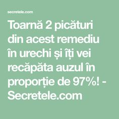 Toarnă 2 picături din acest remediu în urechi și îți vei recăpăta auzul în proporție de 97%! - Secretele.com Salvia, Metabolism, Good To Know, Natural Remedies, Health Fitness, Banana, Medicine, The Body, Alcohol