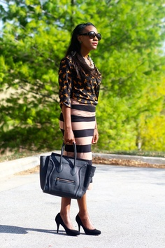 Striped skirt and black pumps