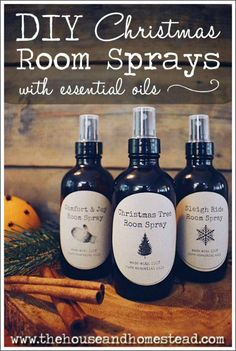 These diy Christmas room sprays with essential oils make a quick and easy gift and are an all-natural way to make your house smell great for the holidays. diy DIY Christmas Room Sprays with Essential Oils Essential Oils Christmas, Essential Oils Room Spray, Essential Oil Diffuser, Diy Tapete, Diy Cadeau Noel, Aerosoles, Mason Jar Diy, Easy Gifts, Making Ideas