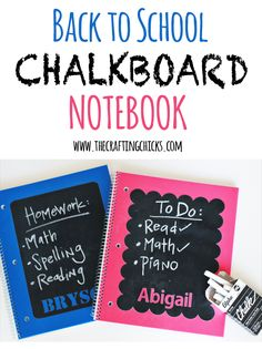DIY Back to School Chalkboard notebook