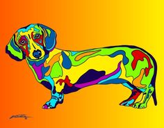 Multi-Color Dachshund Matted Prints & Canvas Giclées. Hand painted and printed in USA by the artist Michael Vistia. Dog Breed: The dachshund is a short-legged, long-bodied, hound-type dog breed. Avail
