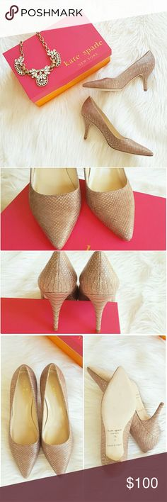 """Kate Spade Talia Pumps Known for their effortless panache, these pointy-toe pumps go for understated edge in metallic python embossing. Color is of a blush/taupe with gold metal wash. Standing 3"""" heel. Size 7.5 BNIB! Listed on Posh only 🚫 NO TRADE/HOLD kate spade Shoes Heels"""
