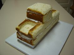 We start with a sheet cake cut into thirds stack then carve. Platform is styrofoam we cover with cake foil glue to board . Food Cakes, Cupcake Cakes, Truck Birthday Cakes, Truck Cakes, 3rd Birthday, Gateau Flash Mcqueen, Tow Mater Cake, Bolo Diy, Mcqueen Cake