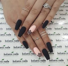 The latest and most creative designs for black nails are perfect for fall and winter . - The latest and most creative designs for black nails are perfect for fall and winter, # o - Black Nail Designs, Acrylic Nail Designs, Nail Art Designs, Nails Design, Stylish Nails, Trendy Nails, Cute Nails, Black Coffin Nails, Matte Black Nails