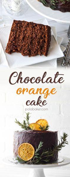 Chocolate orange cake -  polabaker.com  #christmas #festive #cake #holidays #chocolate #orange #ganache #driedorange #dessert #baking #birthdaycake #cakeidea #orangechocolate #polabaker