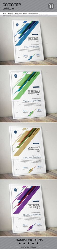 Buy Certificate by ConceptFactory on GraphicRiver. Certificate is especially for Corporate or Professional use. 4 different color and easy to modify. Just select the gl. Stationery Printing, Stationery Templates, Stationery Design, Resume Templates, Certificate Of Appreciation, Certificate Of Achievement, Award Certificates, Certificate Design, Certificate Templates