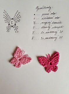Tohoto motýlka jsem si kdysi dávno vytiskla z netu, bohužel už nevím kde. Crochet Butterfly Pattern, Crochet Applique Patterns Free, Crochet Jewelry Patterns, Crochet Earrings Pattern, Crochet Hair Accessories, Crochet Flower Tutorial, Crochet Diagram, Crochet Motif, Crochet Designs