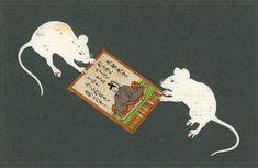 年代別に見る年賀状 Japanese Graphic Design, Japanese Prints, Japanese Art, Moth Drawing, Pet Mice, Year Of The Rat, New Year Card, Vintage Japanese, Vintage Cards