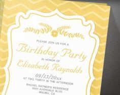 Gold Stripes Birthday Party Invitation