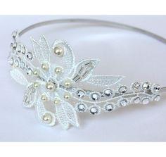 Swarovski Crystal Pearl Lace Headband Bridal Fascinator Wedding