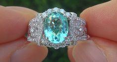 GIA 2.80 ct VVS Natural Paraiba Tourmaline Diamond 14k White Gold Estate Ring