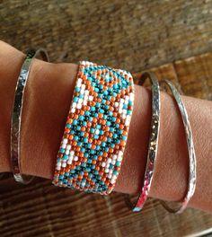 Diamond Design Bead Loom Bracelet by WanderlustArtistry on Etsy Bead Loom Bracelets, Beaded Bracelet Patterns, Woven Bracelets, Bead Jewellery, Seed Bead Jewelry, Beaded Jewelry, Seed Beads, Seed Bead Patterns, Beading Patterns