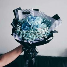 Perfect shades of blue and black Boquette Flowers, Flower Bouqet, Beautiful Bouquet Of Flowers, Luxury Flowers, Beautiful Flower Arrangements, Floral Bouquets, Planting Flowers, Floral Arrangements, Beautiful Flowers