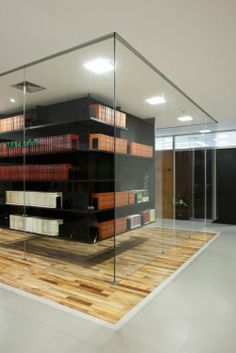 I have no ide where this would go, But I think the floating bookshelf looks really cool. BPGM Law Office Library