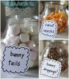 Bunny themed party snacks for Easter. Could use for baby shower, birthday party, spring parties, etc. Peter Rabbit Party, Peter Rabbit Birthday, Peter Rabbit Cake, Easter Birthday Party, First Birthday Parties, First Birthdays, Birthday Ideas, 3rd Birthday, Easter Party Games