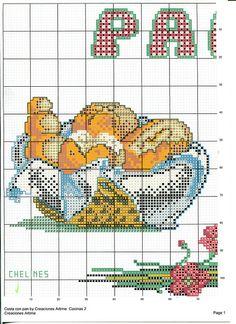 Pan Cross Stitch Charts, Cross Stitch Patterns, Cross Stitching, Cross Stitch Embroidery, Cross Stitch Kitchen, Needlework, Kids Rugs, Handmade, Biscotti