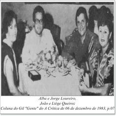 """Alba e Jorge Loureiro, João e Liége Queiroz. Coluna do Gil """"Gente"""" do A Crítica de 06 de dezembro de 1983."""