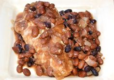 Slow Cooker Baked Bean Chicken | OAMC from Once A Month Meals Lots of substitutions need to be made to make this safe to eat.