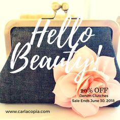 20% OFF Sale of All Denim Clutches On Now! Denim Clutches, Handmade Clutch, Off Sale, Cloth Bags, Thank You Gifts, Deep Purple, Clutch Purse, Gifts For Women, Gift Guide
