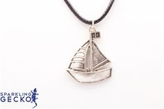 Antique Silver Tone Sailboat on Black Cord Necklace Antique Silver Tone Sailboat on black cord,Jewelry & Watches, All Fashion…