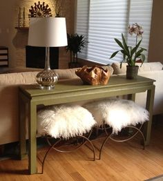 For our writing desk behind the couch.  Use stools instead of chairs. Easy to hide out of the way. Also easy to move stools to other parts of the house to use for guests