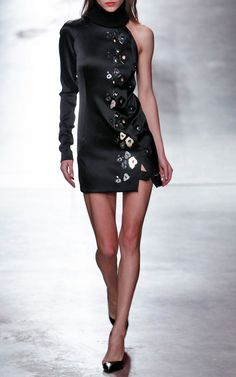 Six Button Dress With Embroidered Left Side by Anthony Vaccarello for Preorder on Moda Operandi