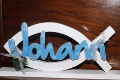 Taufe Tischdekoration Fisch Schriftzug Name von Inas Nordlichter auf DaWanda.com