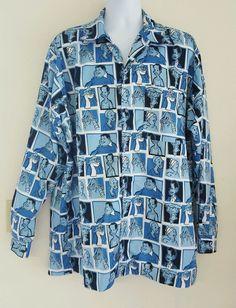 Platinum Fubu Fat Albert & The Junkyard Gang Bill Cosby Blue Shirt XL Unique #FUBU #Printedshirt