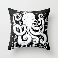 Royal Octopus - black Throw Pillow by Farnell - $20.00