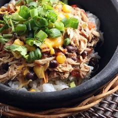 Crock Pot Santa Fe Chicken (Just assembled this in the crockpot to turn on in the morning. Dinner tomorrow is gonna be NOM and Healthy! Crock Pot Slow Cooker, Crock Pot Cooking, Slow Cooker Recipes, Crockpot Recipes, Chicken Recipes, Cooking Recipes, Healthy Recipes, Crock Pots, Shrimp Recipes