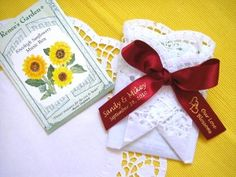 seeds wrapped in paper doilies... favors