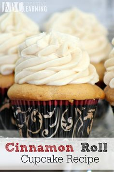 Cupcakes are my girls favorite dessert and these Cinnamon Roll Cupcake Recipe don't disappoint. - abccreativelearning.com