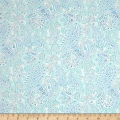 Something Blue Linear Paisley White from @fabricdotcom  Designed by Color Principle for Henry Glass & Co., this cotton print fabric is perfect for quilting, apparel and home decor accents. Colors include ivory, grey and shades of blue.
