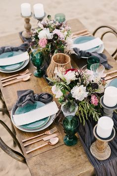 desert or beachy wedding tablescapes - photo by Saje Photography http://ruffledblog.com/real-sand-dunes-elopement-with-a-black-wedding-gown