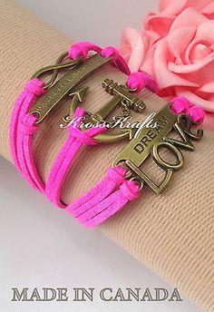 Womens HOT Pink Infinity Bracelet Anchor Dream Love WTAW Bronze Charm K918hpb