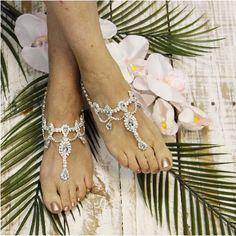 VICTORIA wedding tiara barefoot sandals - silver