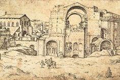 maarten van heemskerck - Construction of new St Peter's in Rome by Maerten van Heemskerck (c.1536, Staatliche Museen, Berlin)