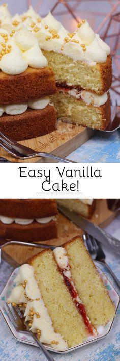 Vanilla Cake - Back To Basics! - Jane s Patisserie White Sponge Cake Recipe, Sponge Cake Recipes, Chocolate Easter Cake, Magic Custard Cake, Janes Patisserie, Victoria Sponge Cake, Easy Cake Decorating, Vanilla Cake, Vanilla Sponge