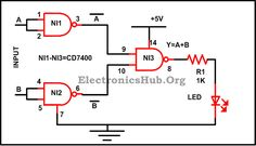 Construction of OR Gate with NAND Gate For more information about this circuit, visit http://www.electronicshub.org/design-of-basic-logic-gates-using-nand-gate/