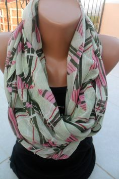 green and pinkgeometric patterns Green Elegance Scarf by aydam, $15.00