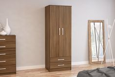BIRLEA LYNX 2 DOOR COMBI ROBE, WALNUT