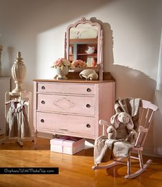 Matching dresser and rocking chair fit for a little princess finished in Antoinette & Old White Chalk Paint® decorative paint by Annie Sloan | By Orphans with Makeup