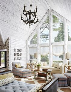 """Wisconsin reader, Susan Jones, loves her open living room. She says, """"The expansive windows show off the ever-changing waves, lights, and sounds of Lake Michigan."""""""
