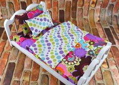 "18 inch Doll Bedding   Polka Dot bedding   18"" Doll Bedding Blanket Mattress   Custom Doll Bedding   Doll Accessories   Dollhouse Bedding by 2KrazyLadiesCrafts on Etsy"