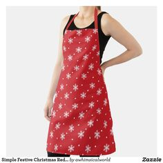 Simple Festive Christmas Red and White Snowflakes Apron